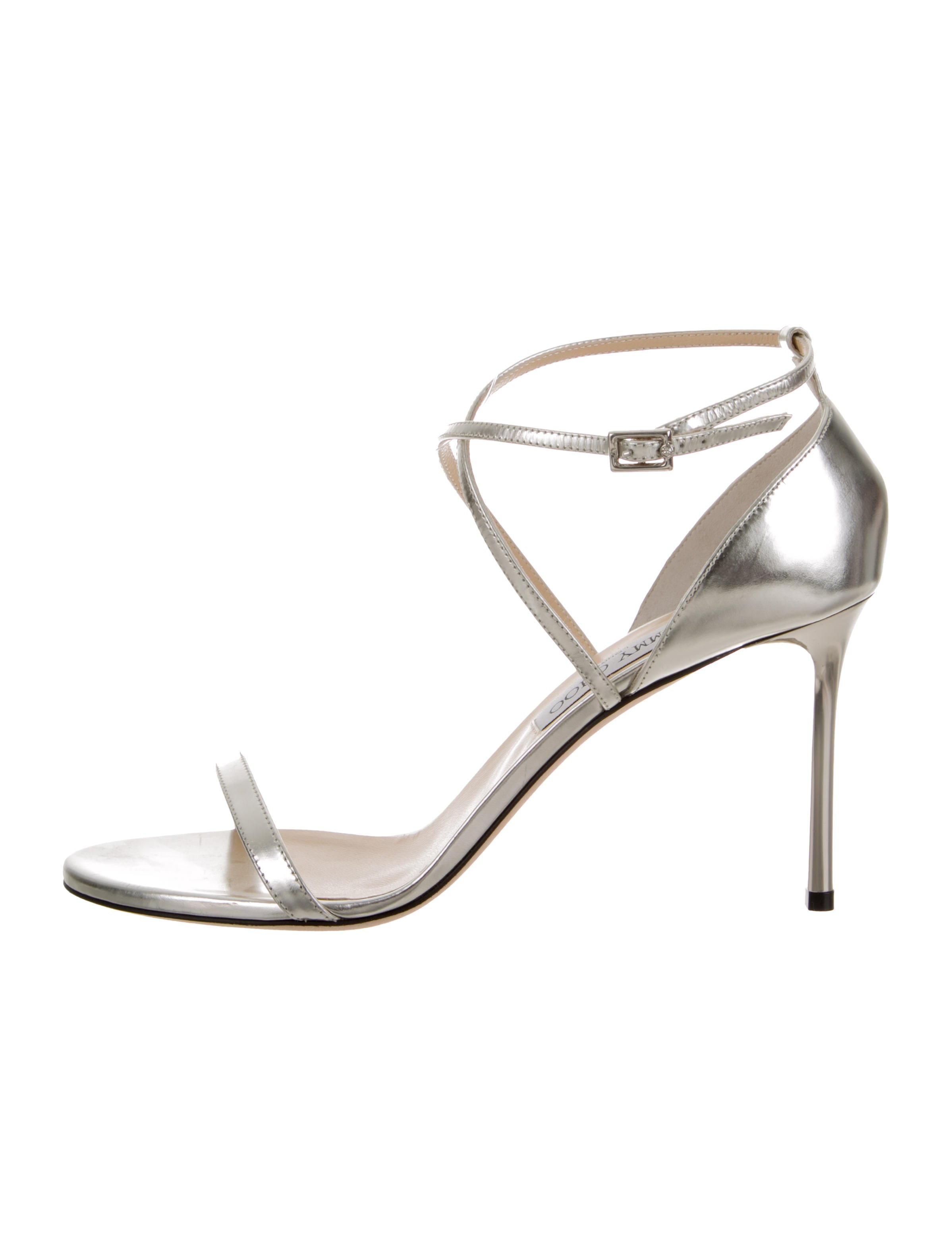 1352a6e988bbac Jimmy Choo Metallic Leather Wrap-Around Sandals - Shoes - JIM100312 ...