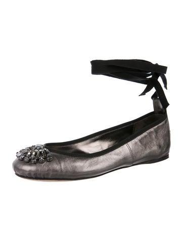 1b8f6ce25c Jimmy Choo. Embellished Metallic Leather Wrap-Tie Flats
