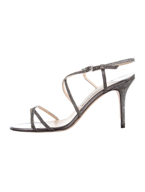 Jimmy Choo Glitter Crossover Sandals Silver