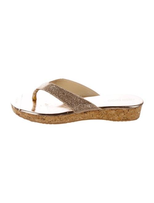 Jimmy Choo Glitter Thong Sandals Metallic
