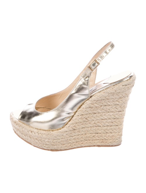 Jimmy Choo Leather Espadrilles Silver