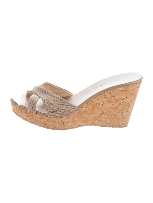 Jimmy Choo Goosebump Suede Wedges gold