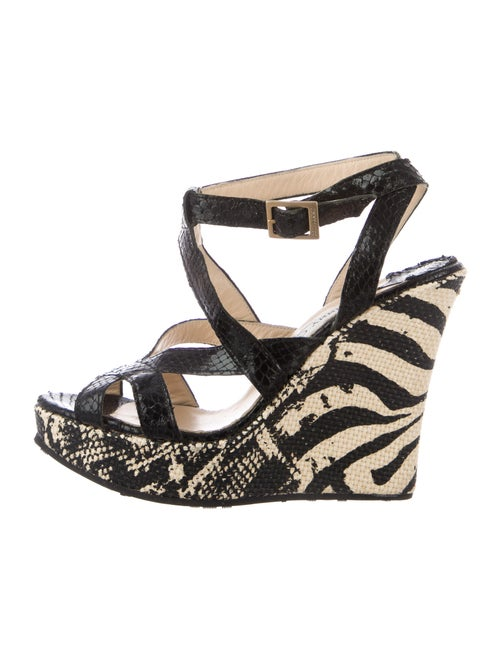 Jimmy Choo Snakeskin Animal Print Sandals Black
