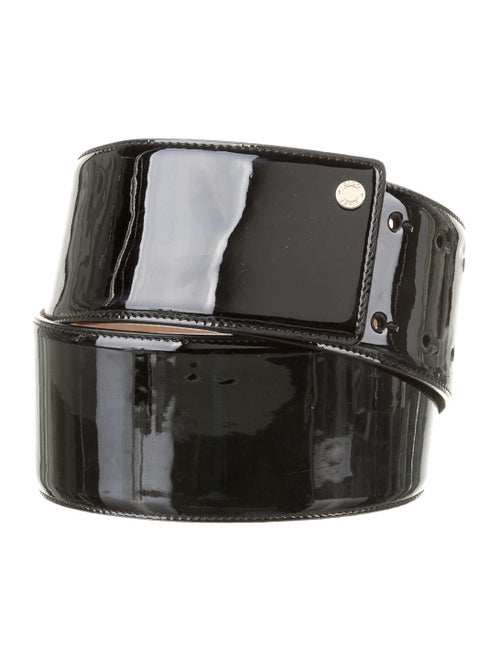 Jimmy Choo Patent Leather Wide Belt Black