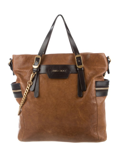 Jimmy Choo Leather Chain-Link Tote Brown