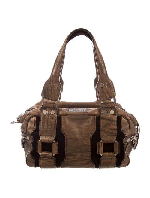 Jimmy Choo Suede-Trimmed Metallic Shoulder Bag Met