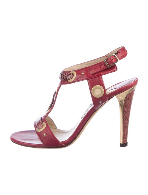 Jimmy Choo T-Strap Sandals Red