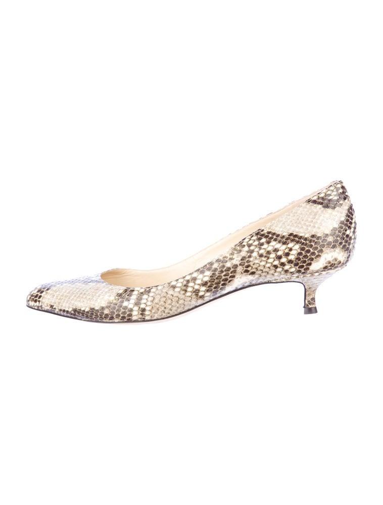 Jimmy Choo Snakeskin Kitten Heels - Shoes - JIM22506  The RealReal