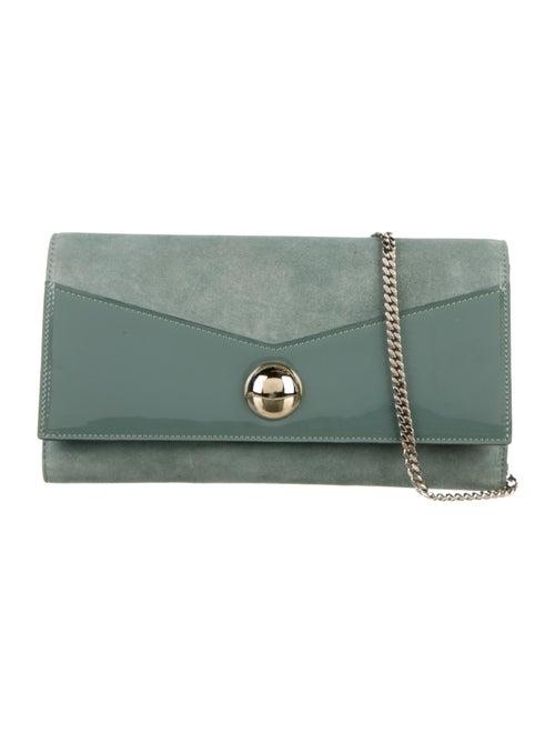 Jimmy Choo Suede Chain-link Shoulder Bag Blue