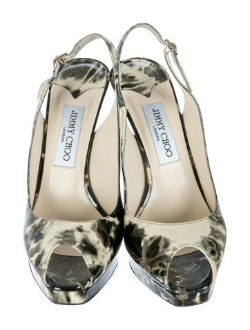 Printed Slingback Pumps