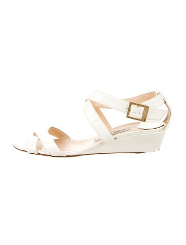 Jimmy Choo Patent Leather Wedge Sandals None