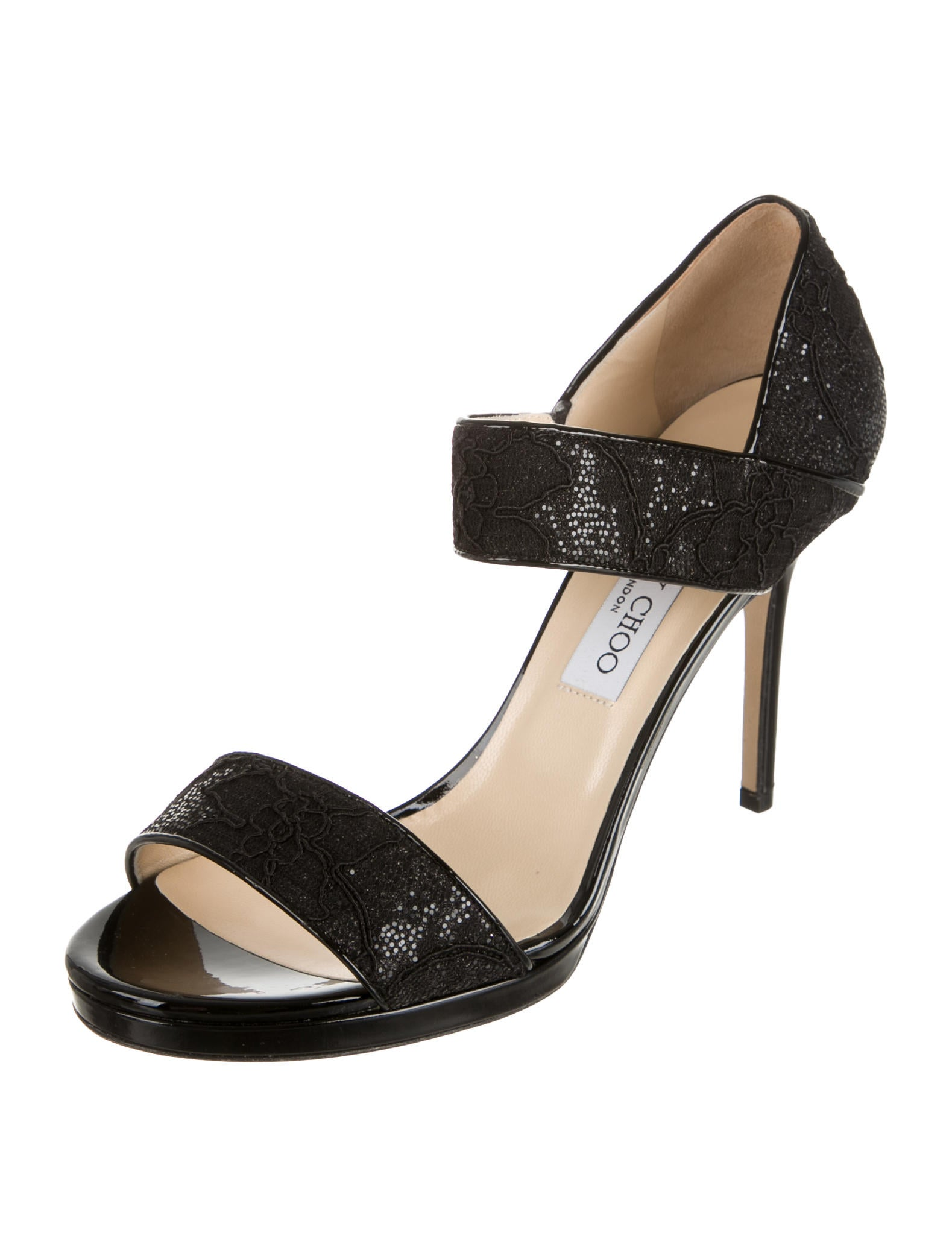 jimmy choo black glitter sandals shoes jim43100 the