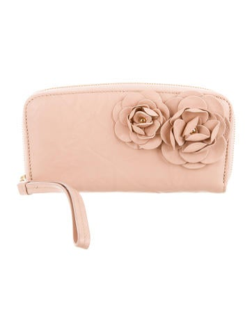 Floral Appliqué Leather Wallet