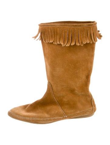 Suede Fringe-Embellished Boots
