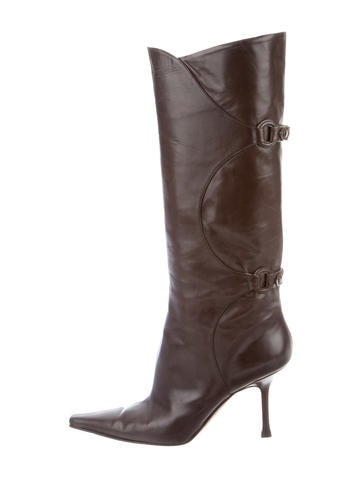 Leather Pointed-Toe Boots
