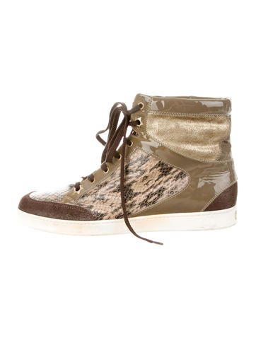 Snakeskin-Trimmed Round-Toe Sneakers