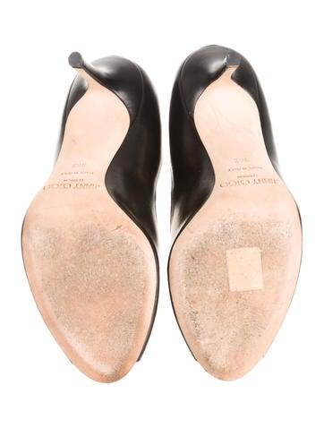 Leather Peep-Toe Pumps