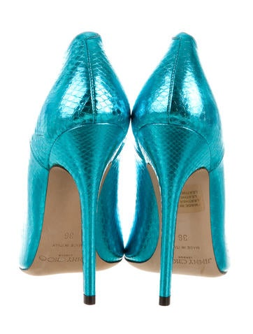 Metallic Embossed Pointed-Toe Pumps