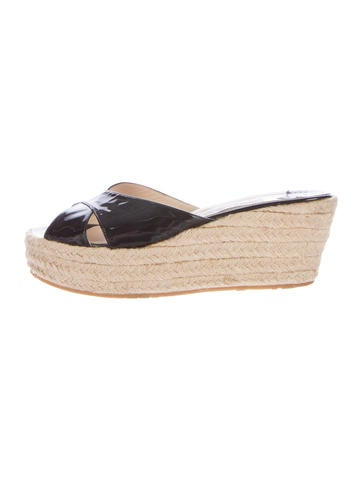 Jimmy Choo Patent Leather Espadrille Wedges None