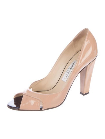 Peep-Toe Patent Leather Pumps
