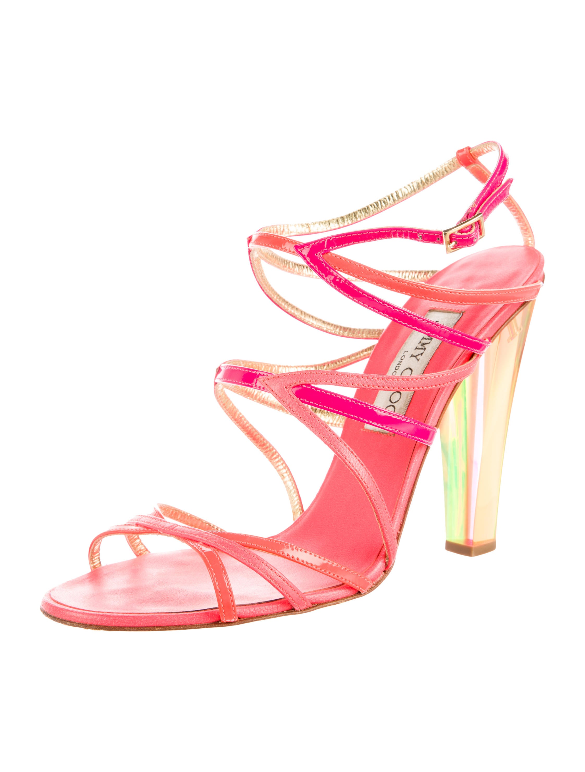 jimmy choo multistrap neon sandals shoes jim50792
