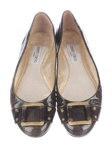 Buckle-Accented Patent Leather Flats