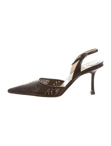 Jimmy Choo Leather Lace Pointed-Toe Pumps None