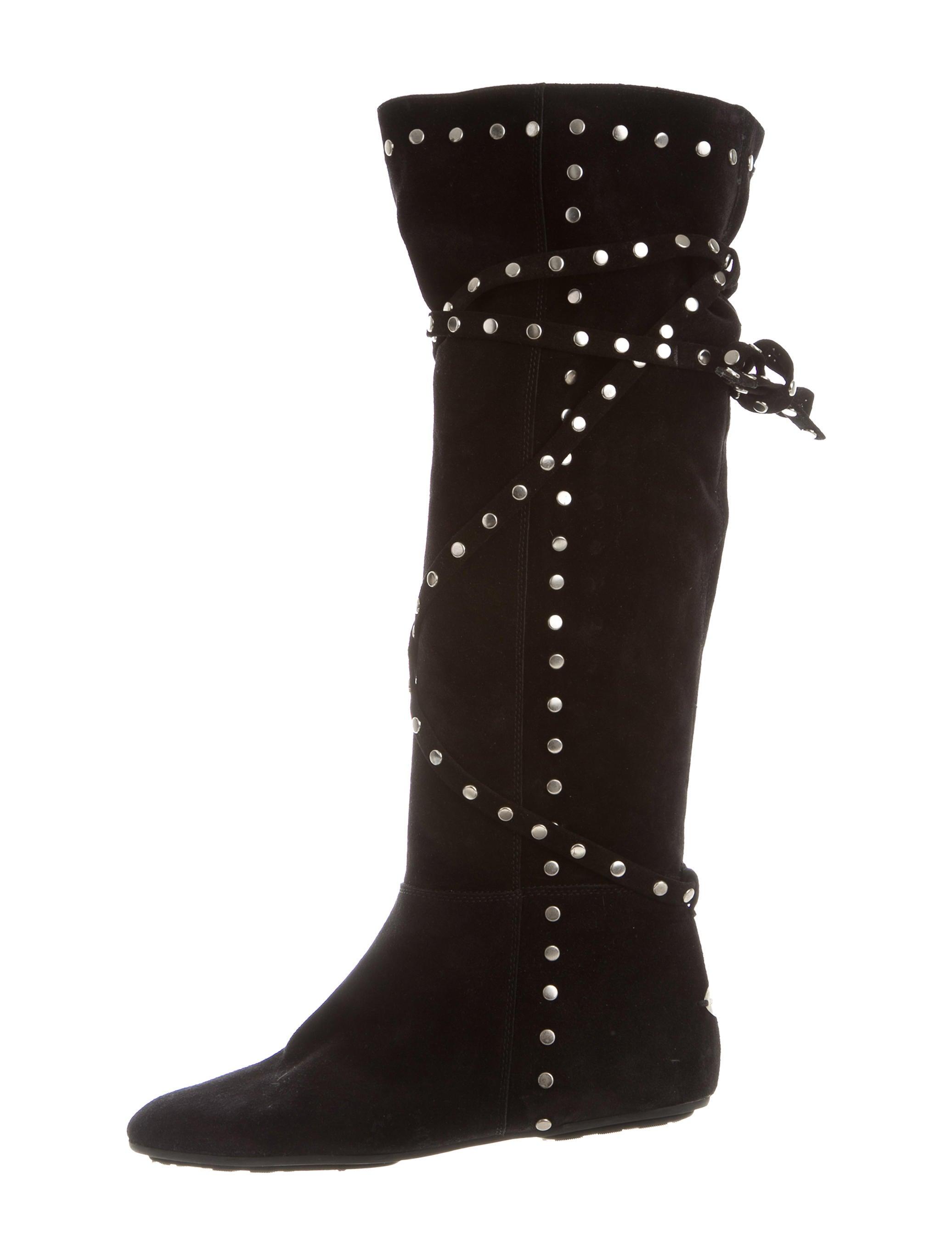 jimmy choo stud embellished knee high boots shoes