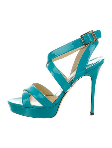 Patent Leather Crossover Sandals