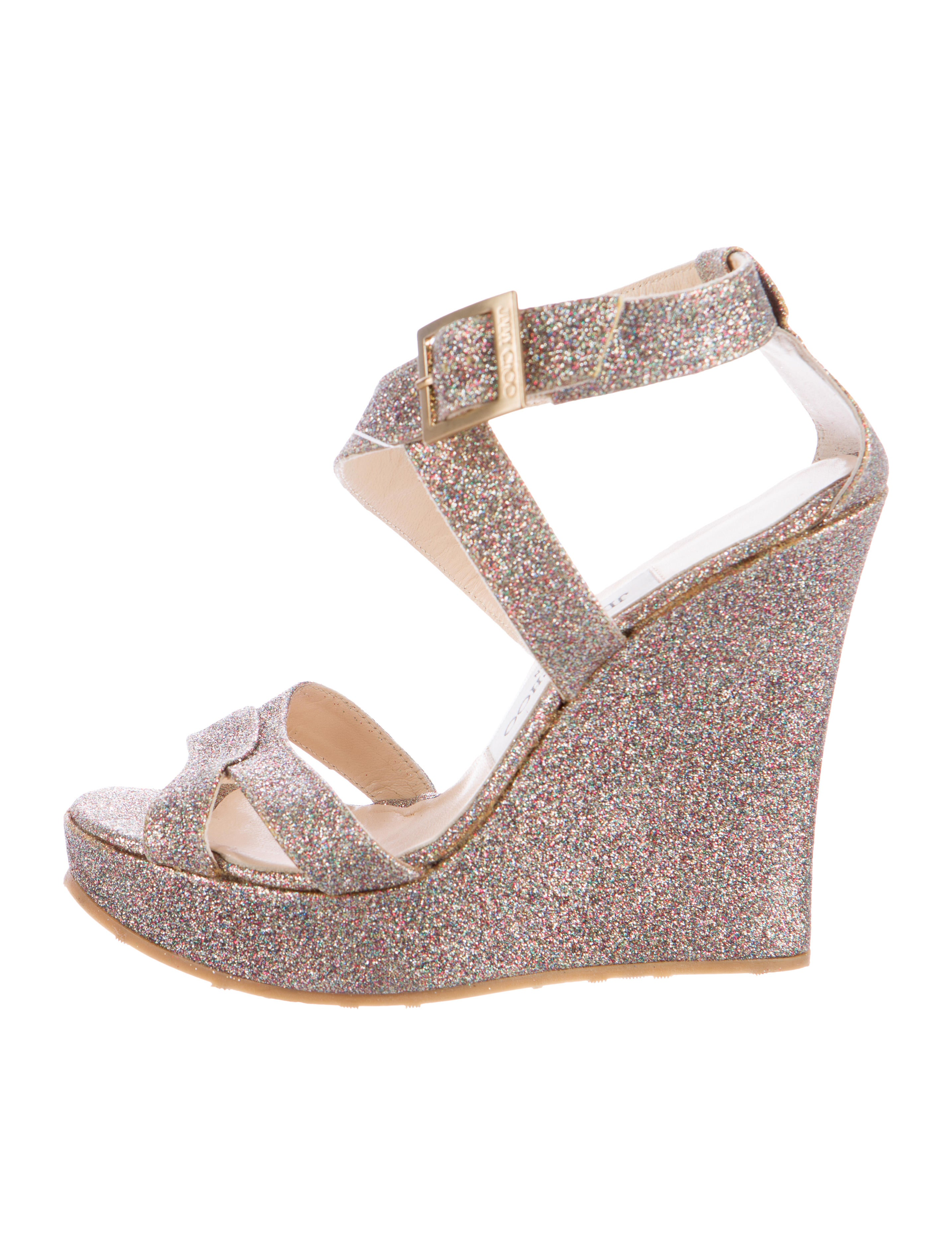 67eca09565b Jimmy Choo Penny Glitter Wedge Sandals - Shoes - JIM53263