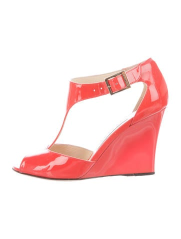 Jimmy Choo Patent Leather T-Strap Wedges None