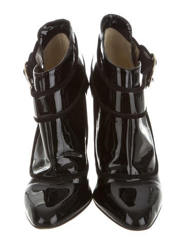 Patent Leather Round-Toe Booties