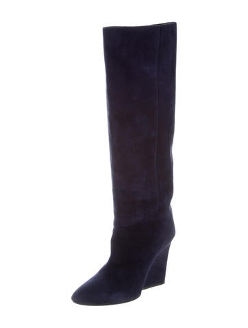 jimmy choo suede knee high wedge boots shoes jim55299