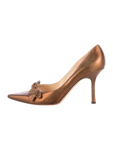 Jimmy Choo Metallic Leather Pointed-Toe Pumps None