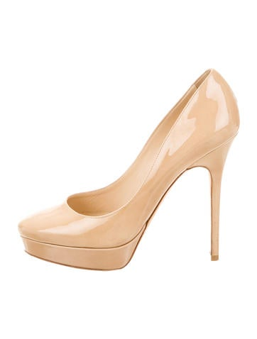 Jimmy Choo Patent Leather Round-Toe Pumps None