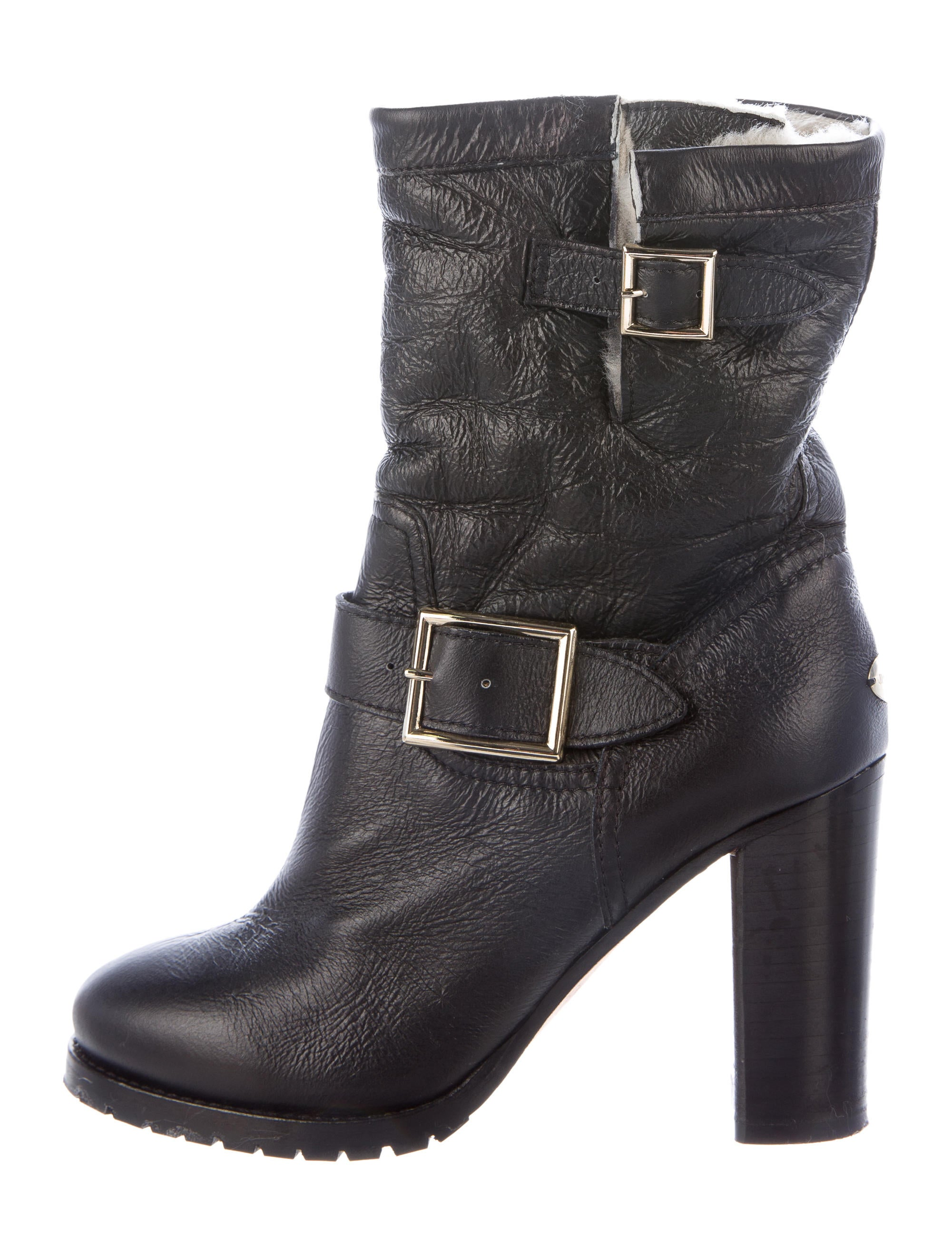 jimmy choo shearling toe ankle boots shoes