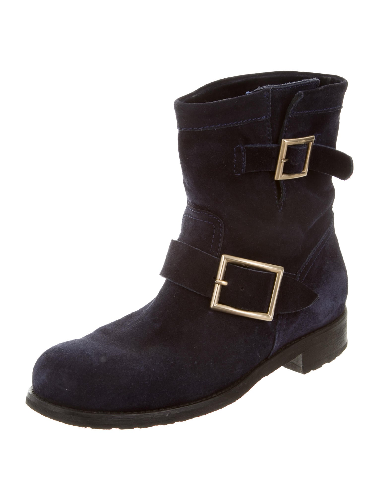 jimmy choo suede buckle boots shoes jim57062 the realreal