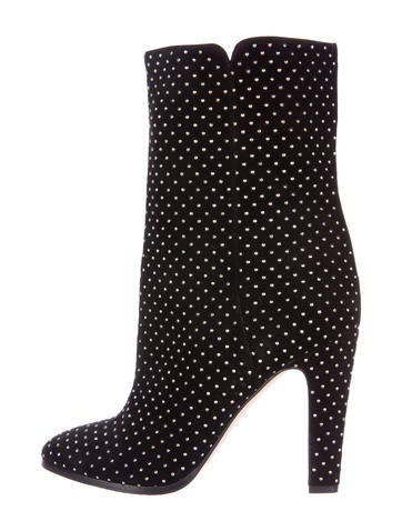 Studded Pointed-Toe Ankle Boots
