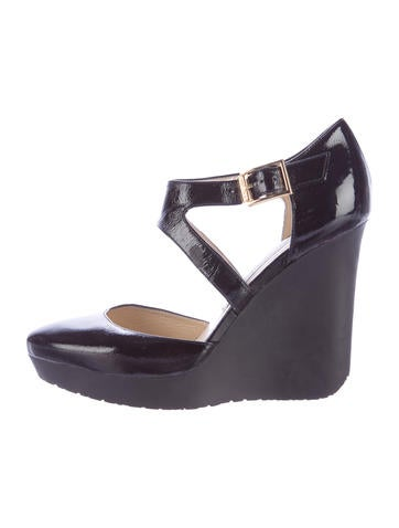 Jimmy Choo Round-Toe Patent Leather Wedges None