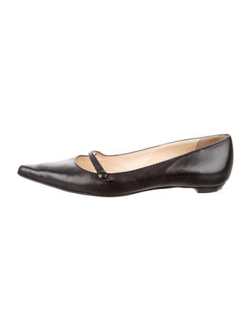 Jimmy Choo Pointed-Toe Leather Flats None