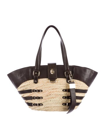 Jimmy Choo Leather & Straw Tote