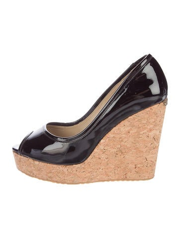 Jimmy Choo Patent Leather Peep-Toe Wedges None