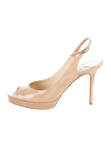 Jimmy Choo Patent Leather Peep-Toe Pumps None
