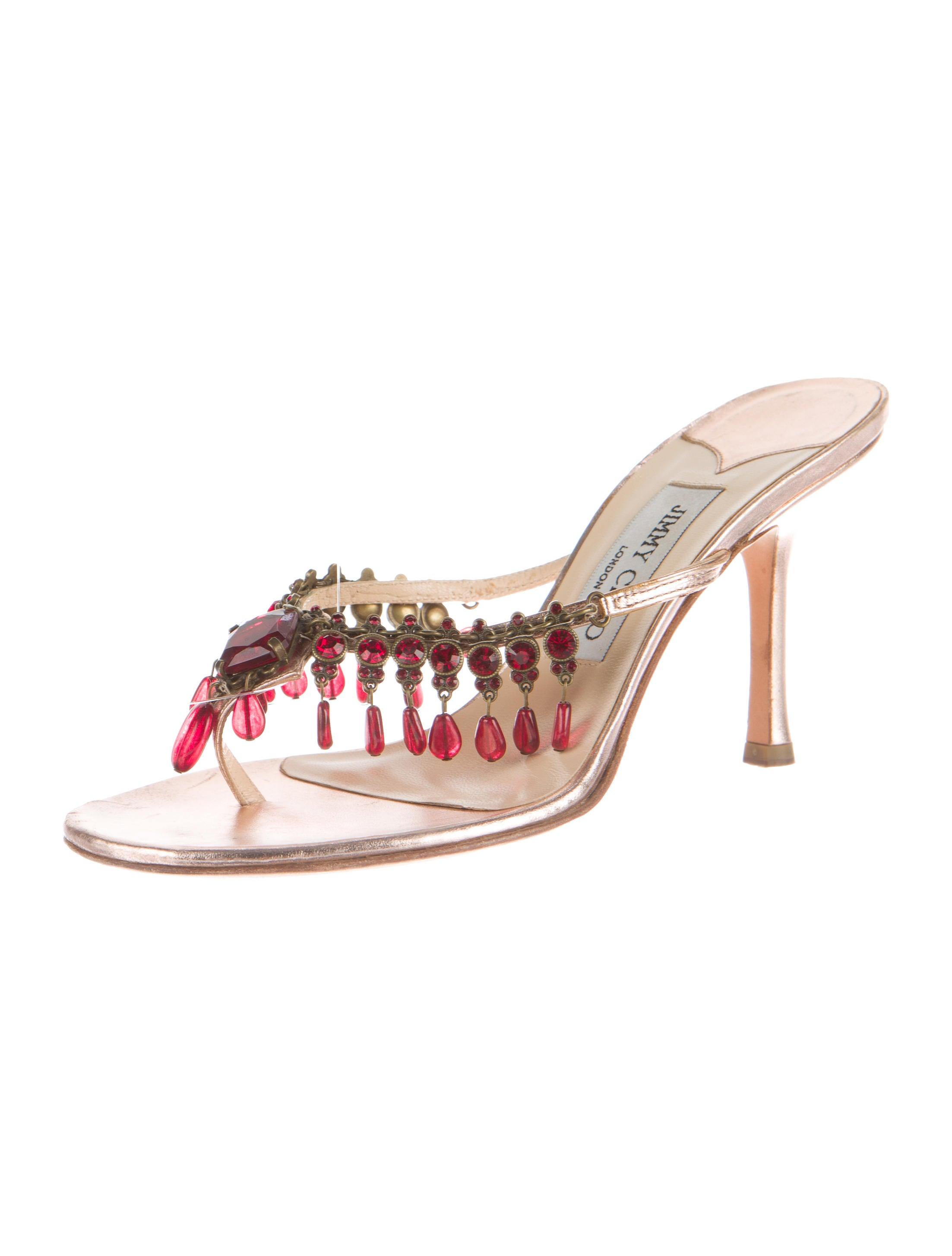 5aedb518434791 Jimmy Choo Embellished Slide Sandals - Shoes - JIM58400