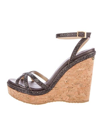 Jimmy Choo Embellished Cork Wedges None