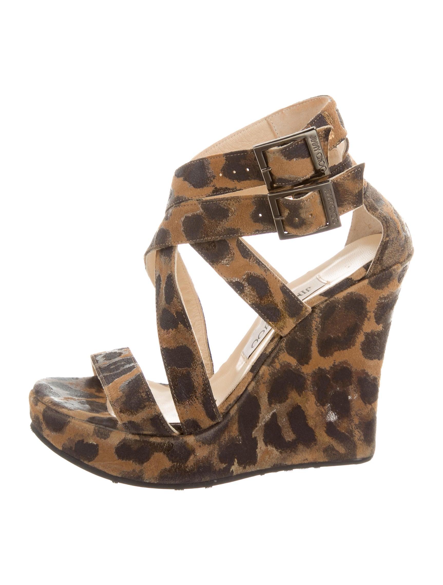 jimmy choo leopard wedge sandals shoes jim60355 the