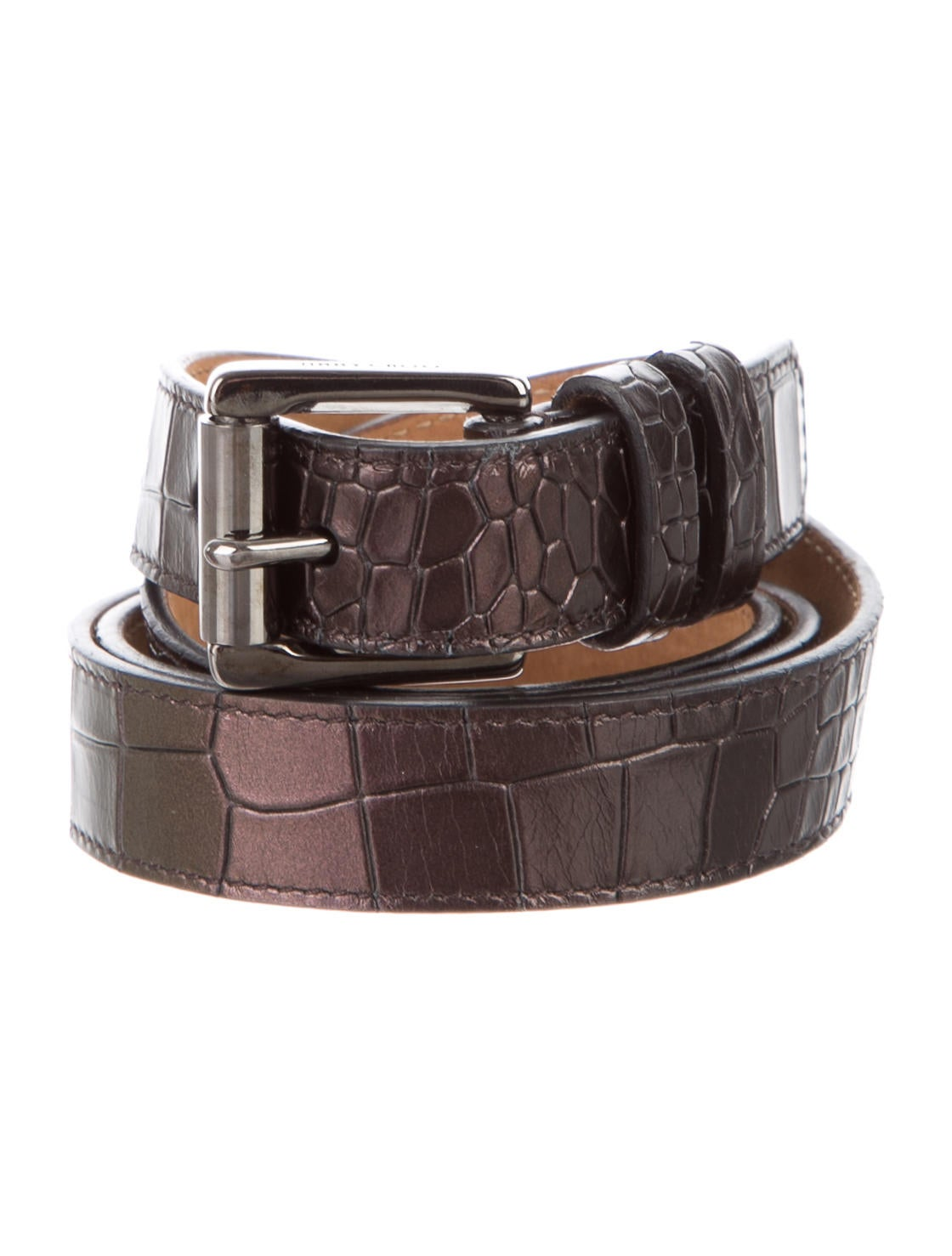 jimmy choo embossed metallic leather belt accessories