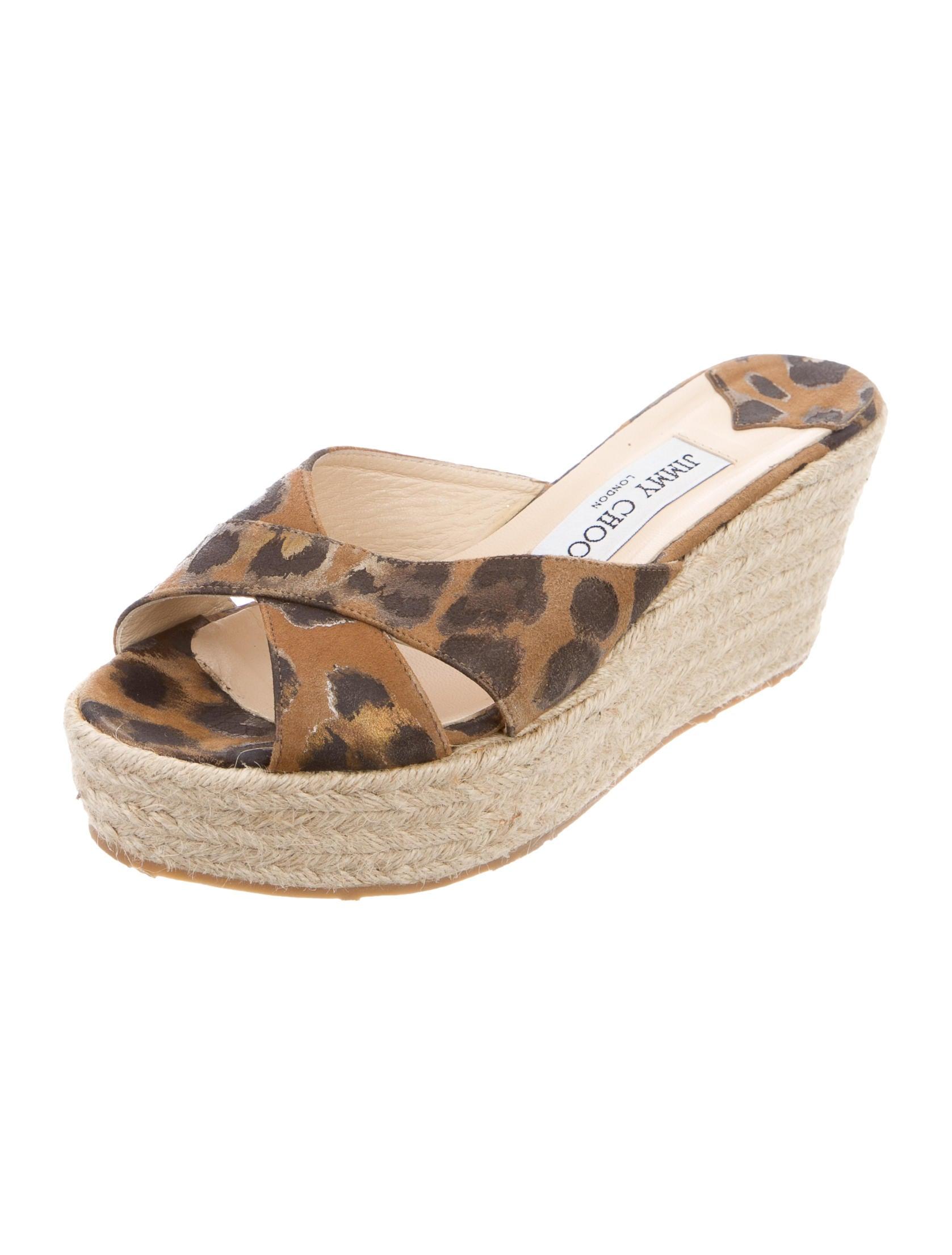 jimmy choo leopard espadrille wedge sandals shoes
