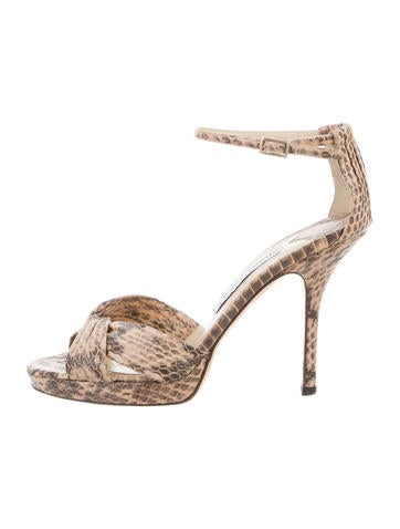 Jimmy Choo Snakeskin Platform Sandals None