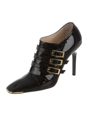 Patent Leather Square-Toe Booties